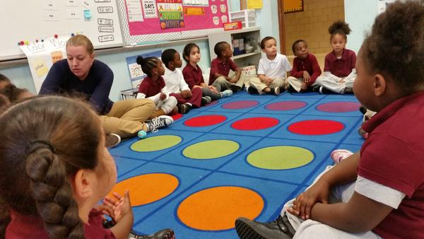 Kindergarten students in Amanda Finch's class at Classical Studies Magnet Academy discuss their feelings during a morning check-in.