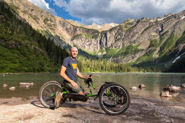 David Nickelson on a handcycle in Glacier Park.
