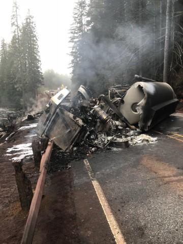 <p>An overturned tanker spilled gas into the North Santiam River after it crashed Friday, Dec. 15, 2017.</p>