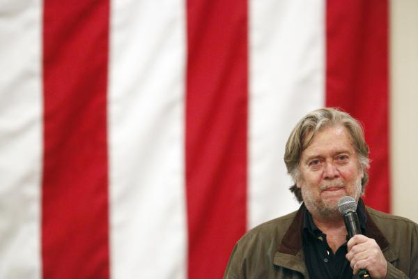 Steve Bannon, former chief strategist to President Trump, speaks during a Roy Moore campaign rally in Alabama Dec. 11, 2017.