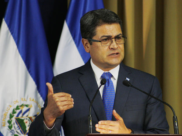 Honduran President Juan Orlando Hernandez gives an speech during a meeting last year in San Salvador, El Salvador.