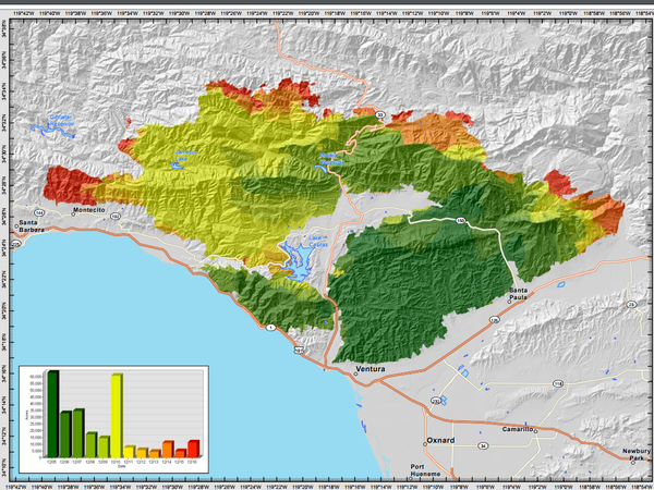 An incident map from Sunday, showing the spread of the Thomas Fire
