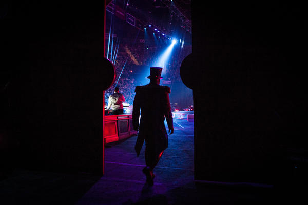 Ringmaster Johnathan Lee Iverson enters the ring in Fairfax, Va., at one of the final performances of the Ringling Bros. and Barnum & Bailey Circus.