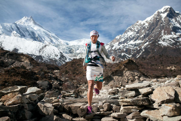 Mira Rai competes at the 2014 Manaslu Trail Race, which passes through Nepal's Himalayan landscapes.