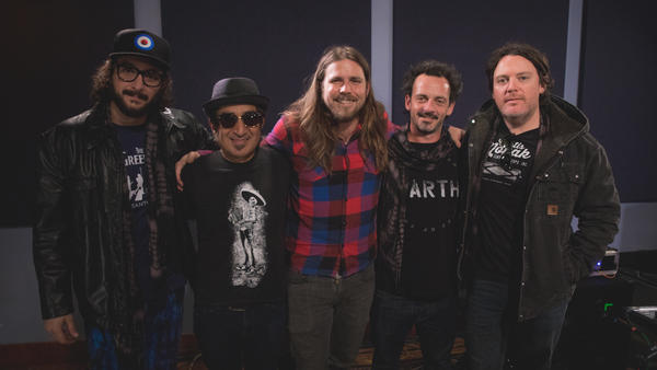 Lukas Nelson and Promise of the Real appear inside the World Cafe Performance Studio.