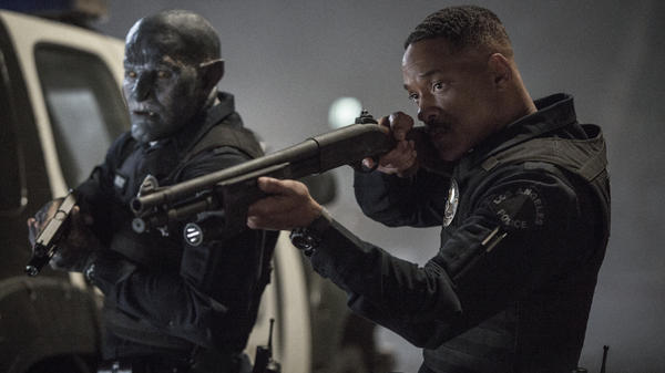 Mediocre Meaty Ogre: Joel Edgerton is an orc named Nick, Will Smith is a human named Daryl in Netflix's <em>Bright</em>.