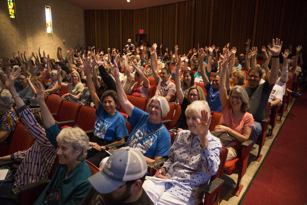 A town hall at Huston-Tillotson University in Austin, hosted by Indivisible TX 25 East. U.S. Rep. Roger Williams (TX-25) was not present but members of the community carried on with the town hall asking questions of local policy experts and a stand-in for