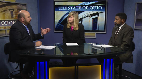 "House Speaker Cliff Rosenberger (R-Clarksville) talks about the state's unemployment fund with Minority Leader Fred Strahorn (D-Dayton) on ""The State of Ohio"" on December 15, 2017."