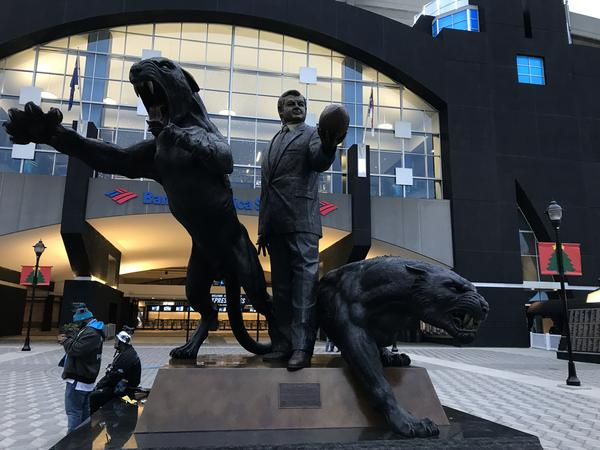 Statue of owner Jerry Richardson stands outside Bank of America Stadium.