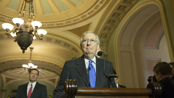Senate Majority Leader Mitch McConnell, R-Ky., speaks to the press Tuesday afternoon in Washington, D.C.