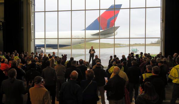 Delta Air Lines and Boeing Company vice presidents addressed workers and passengers during a Farewell Tour ceremony at the Boeing Future of Flight Center.