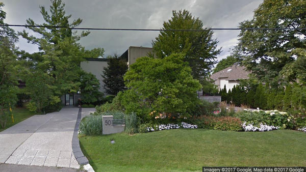 Barry and Honey Sherman were found dead in their house north of downtown Toronto. The house is seen here in a Google Maps image.