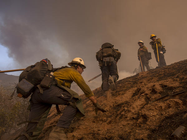 A firefighting crew climbs a steep hill in Montecito, Calif., while battling the Thomas Fire earlier this month.