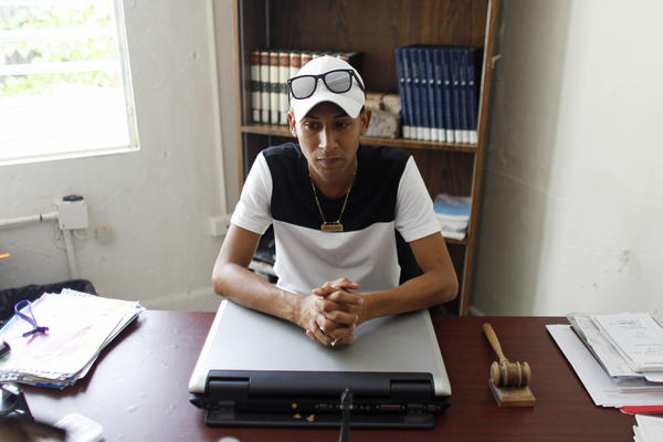 Haronid Cruz Felix, spokesperson of the Vieques mayor, sits in his office.