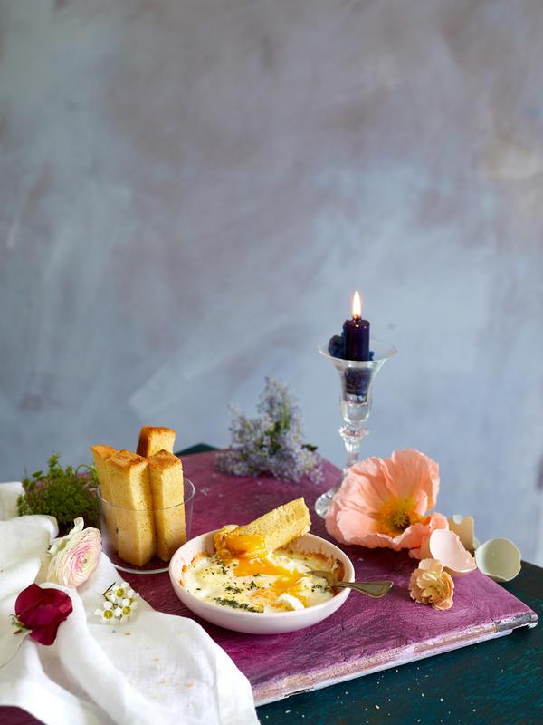 An artfully messy breakfast spread.