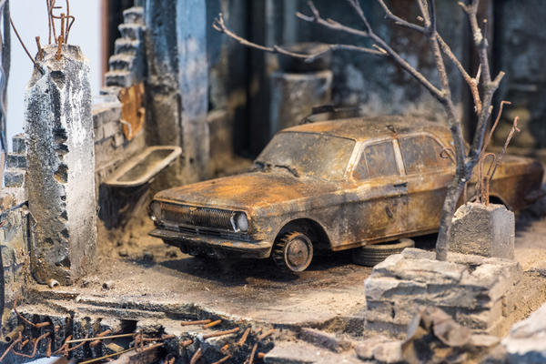 The car belonging to the Shaham family was damaged in a 2003 fire at their home in Mosul.