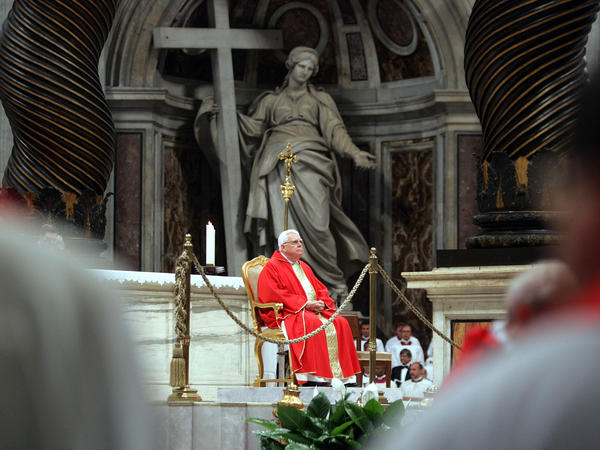 Cardinal Bernard Law, former archbishop of Boston, celebrates Mass in April 2005 inside St. Peter's Basilica in Vatican City.