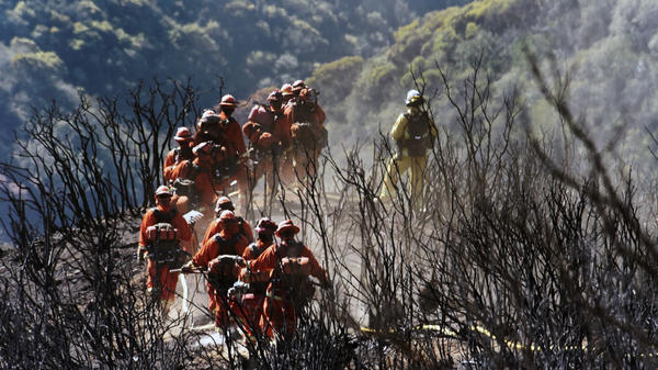In this photo provided by the Santa Barbara County Fire Department, CAL FIRE Inmate Firefighting Hand Crew members hike through the charred landscape on their way to work east of Gibraltar Road above Montecito, Calif., earlier this wee.
