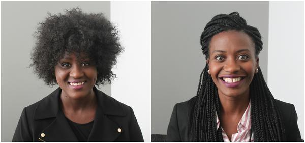 Sofi Seck (left) and Rosebell Komugisha (right) talk about their mission to help expand educational opportunities for women in sub-Saharan Africa.