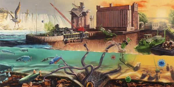 Surreal paintings by Alexis Rockman highlighted challenges facing the Great Lakes.