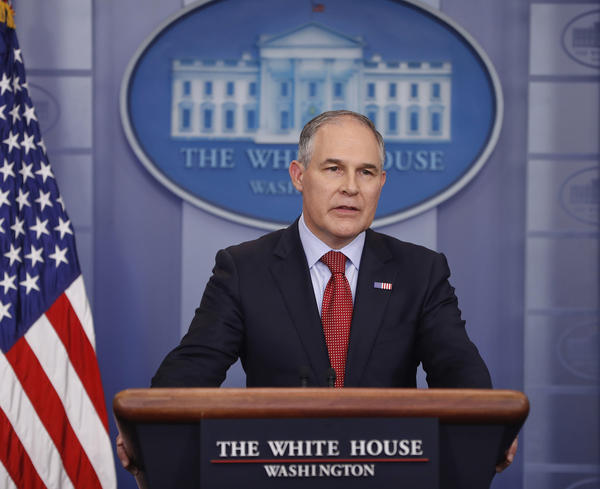EPA Administrator Scott Pruitt speaks to the media during the daily briefing in the Brady Press Briefing Room of the White House in Washington in June.