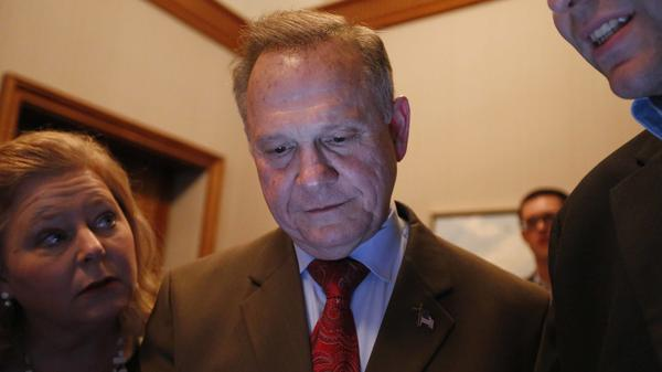 Roy Moore, seen here watching election returns in his Senate race, had called on Alabama officials to not certify the results of the special election that he lost to Democrat Doug Jones. An Alabama judge rejected the request Thursday, and Jones was certified the winner.