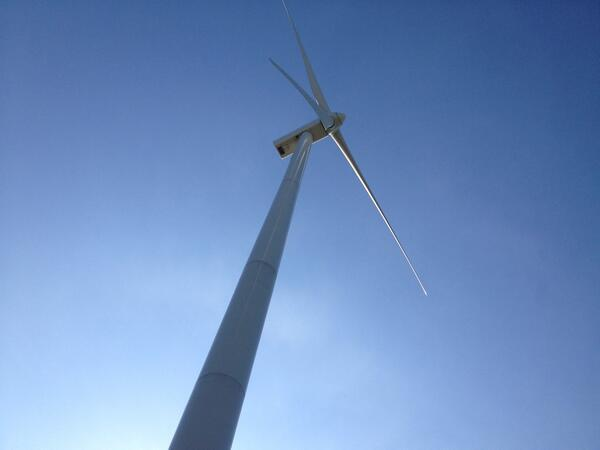 A turbine stands tall at Blue Creek Wind Farm in western Ohio.