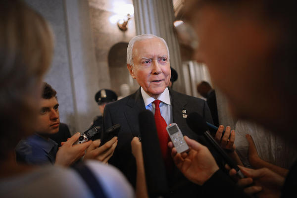 Sen. Orrin Hatch, R-Utah, talks with reporters after leaving the Senate floor at the U.S. Capitol, May 18, 2015 in Washington. (Chip Somodevilla/Getty Images)