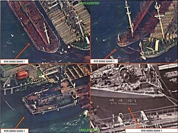 U.S. reconnaissance images show a North Korean ship, the Rye Song Gang 1, conducting a ship-to-ship transfer, possibly of oil, in an effort to evade sanctions on Oct. 19. South Korea has seized a ship it suspects of participating in such transfers.
