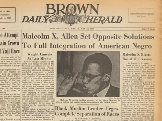 The front page of the <em>Brown Daily Herald</em> on May 12, 1961, the day after Malcolm X spoke at the university. This was the clipping that Malcolm Burnley found last year in the library archives at the university.