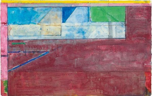 "Diebenkorn played music in his studio while he painted — he loved Bach and Mozart — and it's reflected in his composition of colors. ""I really do see them as kind of music,"" says curator Sarah Bancroft. Above, Diebenkorn's 1984 work, <em>Untitled #26</em> — gouache, acrylic and crayon on joined paper."