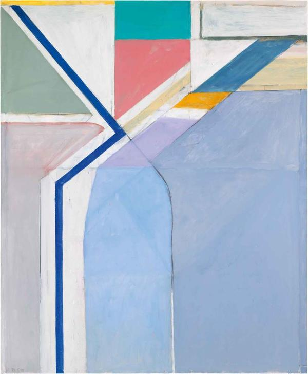 Diebenkorn's studio sat on a hillside; he looked out and up at the geometry of the hill, and how the streets crossed one another. Above, his 1969 oil painting <em>Ocean Park #24</em>.