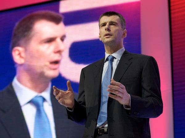 Russian billionaire and presidential candidate Mikhail Prokhorov speaks with Russian voters at the Russian Academy of Science in Moscow, Feb. 25. The 46-year-old commands the support of anti-Putin protesters and is running American-style campaign events around Russia.