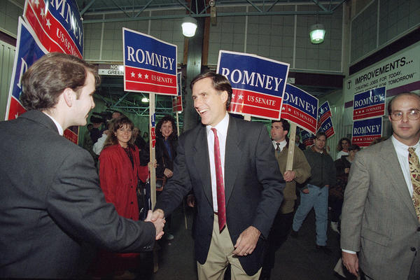 Romney greets supporters in Boston in 1994, during his campaign for the U.S. Senate.