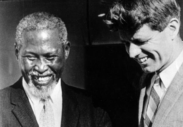 <strong>A Meeting Of Great Minds:</strong> During his 1966 visit to South Africa, Sen. Robert F. Kennedy met with anti-apartheid activist Chief Luthuli and later spoke publicly about their meeting. Because of a government ban on media coverage of Luthuli, it was the first news many had of their leader in more than five years.