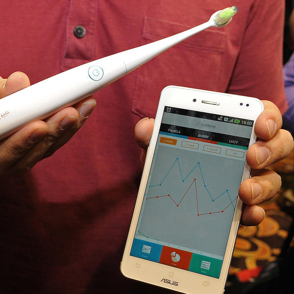 The Kolibree toothbrush, billed as the world's first Internet-connected toothbrush, monitors dental hygiene.