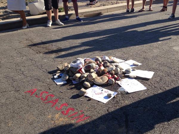 A pile of rocks marked the spot where the Nice attacker was shot and killed.