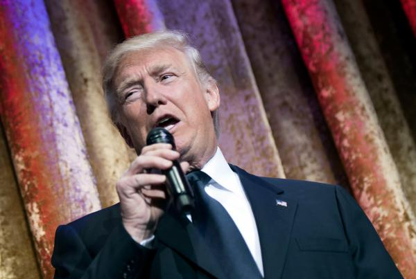 Donald Trump delivers remarks at the Chairman's Global Dinner in Washington, D.C. Trump's speaking style is different than past presidents, it mimics stand-up comedy.