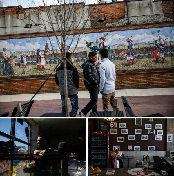 (Top) In downtown Hamtramck, teenagers hang out in Pope Park, which commemorates the Polish Pope John Paul II's visit to the city in 1987. (Bottom left) Co-owner Jamal Jawany poses for a portrait at Delite Cafe and Deli. (Bottom right) Ezzi Jawany, 74, waits for his order at his son's deli, Delite Cafe.