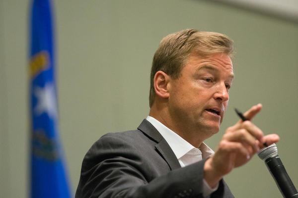 Nevada Sen. Dean Heller speaks at a town hall inside the Reno-Sparks Convention Center on April 17 in Reno. Heller says he opposes the health care proposal put forth by Senate GOP leaders.