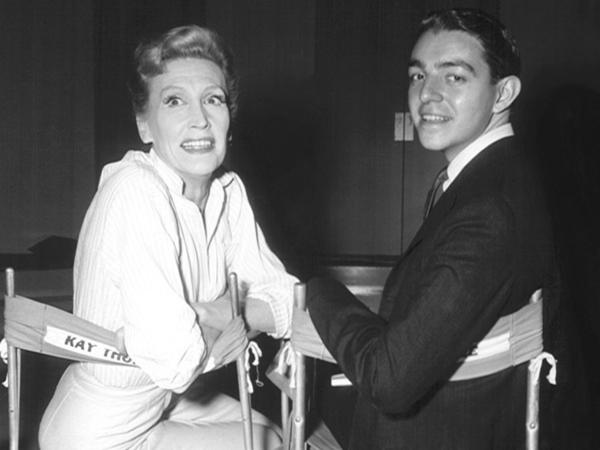 Hilary Knight visits Kay Thompson on the set of <em>Funny Face</em> in 1956. In the film, Thompson plays a fashion magazine editor who discovers Audrey Hepburn's character.