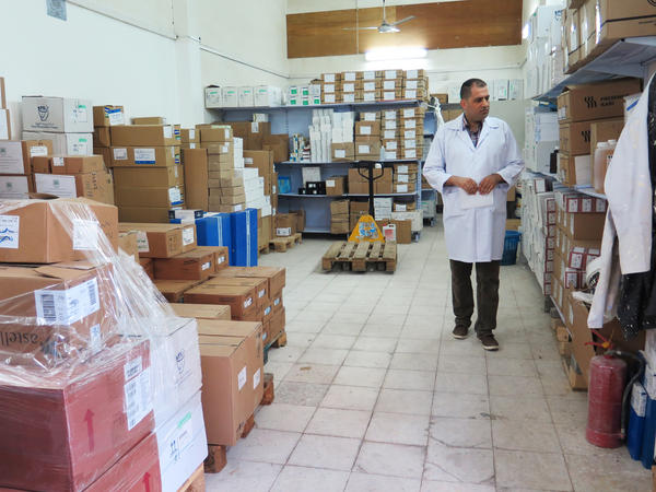 Nael Skaik, the pharmacy director at Gaza's main hospital, says this medicine storage room is usually so full of boxes of medicines that it's hard to find space to walk. Now medicines are running out as Palestinian Authority President Mahmoud Abbas has held up medicine shipments to Gaza to pressure Gaza's Hamas leaders to surrender power.