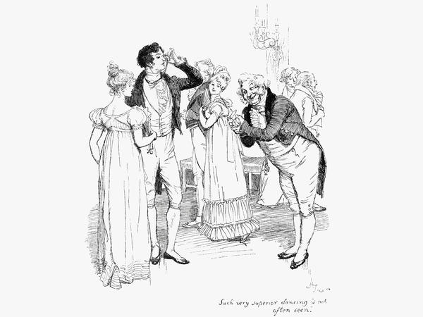 An 1894 engraving depicts chapter 18 of Jane Austen's <em>Pride and Prejudice. </em>