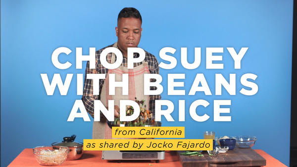 """Joaquin """"Jocko"""" Fajardo makes a spicy Mexican version of chop suey, a classic American Chinese dish. He tells us how his great-aunt learned to make the dish from the Asian employees at her Mexican restaurant in Los Angeles."""