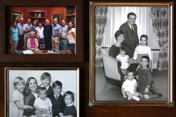 Family photos in the Scalia home.