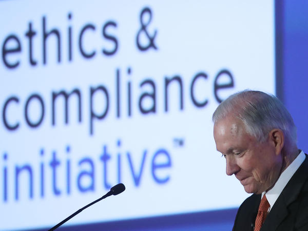 U.S. Attorney General Jeff Sessions speaks about the anti-bribery law at the 2017 Ethics and Compliance Initiative conference in Washington, D.C., in April.