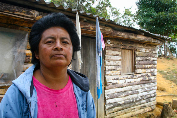 Maria Yolanda Mosqueda lives across the street from an empty lot that was rumored to have explosives buried in it. Handicap International has been de-mining the area.