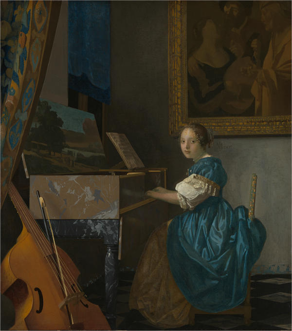 Johannes Vermeer's <em>Young Woman Seated at a Virginal</em> (1675) is much darker than the paintings most people associate with the Dutch artist.