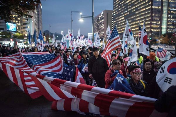 As President Trump arrived to speak to South Korea's general assembly he was greeted by many demonstrators. On the streets of Seoul, demonstrations were divided between those who didn't want Trump to visit at all and a few thousand American-flag-waving South Koreans who gave him an enthusiastic welcome.