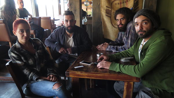 Members of the band Hawa Dafi at Why? cafe in Majdal Shams.